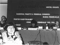Vista della presidenza del Consiglio Federale. A sinistra, in primo piano: Mariella Gramaglia (deputato della Sinistra Indipendente). In secondo piano