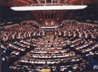 bella immagine dell'aula del Parlamento Europeo al gran completo
