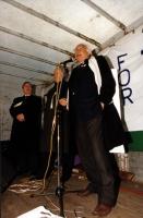 Pannella parla dal podio al termine della 1° manifestazione europea per la libertà i Tibet