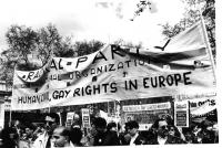 """""""Manifestazione internazionale contro le leggi discriminatorie tentate dal governo inglese. Striscione: """"""""Radical Party a transnational organization."""