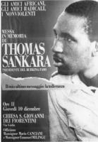 manifesto della messa in memoria di Thomas Sankara, presidente del Burkina Faso assassinato. Con foto dello stesso. (BN)