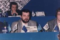 ritratto di Mamuka Tsagareli (Georgia), nel corso di una riunione del Consiglio Federale del PR. In secondo piano: Michele Boselli. A destra, tagliato