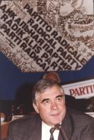 ritratto di Vlado Velisca (ministro del governo croato), in occasione di un consiglio federale del PR. Anni Novanta