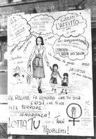 """""""cartello abortista, con disegni e scritte fatte a mano. Donna tiene in mano un bambino ed è afflitta dai pensieri: """"""""mio marito disoccupato, poveracc"""