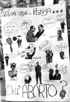 """cartello abortista, con disegni, fotografie, e scritte fatte a mano. """"Lei che cosa ne pensa...dell'aborto?"""". Vignette satiriche con Agnelli, Bernabei,"""