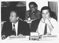 Consiglio Federale, I sessione, ritratto di Abdullah Kariagdju (Kosovo) e Lazer Krasniqui (Kosovo). (BN)