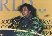 ritratto di Dacia Valent (ex deputata europea di colore del PCI), al 36° congresso PR I sess.