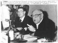 ritratto di Eugene Ionesco durante un dibattito sul teatro contemporaneo tenutosi all'istituto europeo di Firenze (BN)