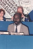 Francis Wodie (segretario del Partito dei Lavoratori della Costa d'Avorio, membro del Consiglio Generale del PR) al 36° Congresso del PR.