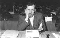 Ritratto di Vladimir Eroshenkov (Russia) deputato. 36° congresso II sessione (BN)