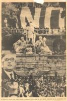 """""""Durante il comizio antidivorzista della Dc a piazza del Popolo viene issato un enorme """"""""NO"""""""" mentre parla Fanfani (BN) ottima, importante, foto da qu"""