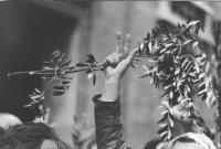 Marcia Pasqua '83. Per tre milioni di vivi subito. Uomo tiene un ramoscello d'ulivo in mano con il segno 3. (BN) ottima