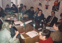 Conferenza del coordinamento del TRP (transnational radical party) nell'ex URSS. In primo piano: Andrea Tamburi.