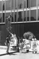 """""""Manifestanti radicali davanti all'ingresso della RAI a viale Mazzini (cavallo sullo sfondo) con cartelli al collo: """"""""diritti civili in TV"""""""", """"""""70° gi"""