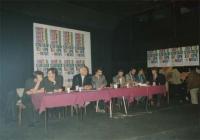 Conferenza PR - Radio B 92 (Belgrado) per l'ingresso della Jugoslavia nella CEE. Vista della presidenza con Vitomir Cesmadziski (zagabria) (secondo da