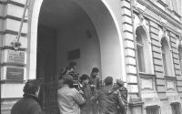 manifestazione davanti all'ambasciata spagnola a Mosca per la libertà di informazione in Spagna (BN)