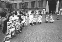 """""""Quirinale. Manifestazione radicale per le dimissioni del presidente della Repubblica Leone. Si riconoscono fra i militanti: Emma Bonino, Gianfranco S"""