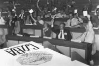 """""""Congresso di fondazione della LIA (Lega Internazionale Antiproibizionista) nell'auletta deei gruppi parlamentari a Roma. Delegati che votano, in prim"""