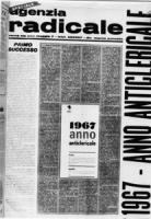 """""""fotoriproduzione di un numero di agenzia radicale. Prima pagina con scritta: """"""""1967 anno anticlericale""""""""  (BN) brutta e sfocata """""""