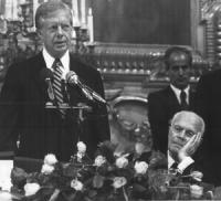 ritratto di Sandro Pertini e Carter (presidente USA)  (BN)