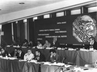 CF consiglio federale. Vista della presidenza con banner. (BN) buona