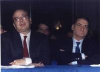 ritratto di Bettino Craxi (segretario PSI) e Mino Martinazzoli (DC) al 3° congresso italiano del PR