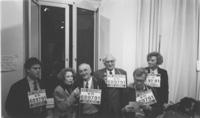 PROVINO Martelli, il sindaco di Sarajevo Kresevljakovic, Pannella, Vigevano, Bonino, tutti con al collo il numero di telefono per le iscrizioni al PR,