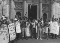 """""""Vigevano, Stanzani, Stango e altri militanti manifestano davanti al portone chiuso di Montecitorio. Cartelli al collo: """"""""al governo piace l'ammucchia"""
