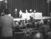 PROVINI. Teatro Ridotto dell'Eliseo. Alla presidenza: Baslini, Mellini e altri 2. Molta gente. Logo della LID. (BN) ottima, importante, storica
