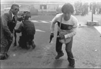 Piazza della Cancelleria. Un poliziotto travestito da autonomo con una pistola in mano incitato da un questore ad allontanarsi. Il giorno in cui fu uc