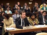 Sede onu. Commissione NU sui diritti umani. Paolo Pietrosanti presenta il suo oral statement sugli zingari dalla tribuna riservata alle ONG.