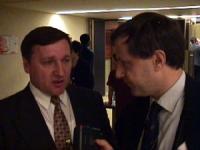 Sede onu. Commissione NU sui diritti umani. Paolo Pietrosanti a colloquio con Monteanu (deputato Moldavia) durante una pausa dei lavori.