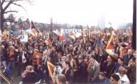 """2° manifestazione europea per la libertà del Tibet. Folla che ascolta il comizio con bandiere tibetane e striscioni: """"radical party"""". Ottima, importan"""