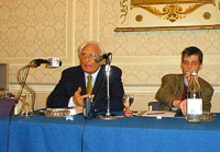 Pannella e Dupuis (segretario PR) durante la conferenza stampa dopo la manifestazione per la legalizzazione della marijuana in Gran Bretagna organizza
