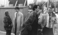 2° manifestazione europea per la libertà del Tibet. Da sinistra: Marcelle Roux (presidentessa di France Tibet), Olivier Dupuis, ???, Francesco Speroni