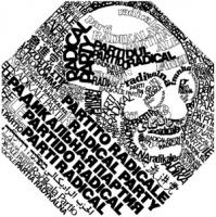 Logo del PR adottato nel 1988 insieme alla scelta di divenire soggetto politico transnazionale. Rapresenta l'effige di Gandhi che emerge dalle scritte