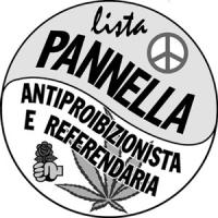 Logo della lista Pannella antiproibizionista e referendaria. Logo usato solo per le elezioni comunali di Roma 1997. Con foglia di marijuana.