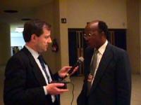 Sede onu. Mike Tshishonga (ministero della Giustizia del Sud Africa) con Pietrosanti. Conferenza di Nessuno Tocchi Caino in vista della votazione dell