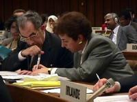 Sede onu. Ambasciatore Alessi e Mrs. Zoppetti della delegazione italiana alla commissione sui dirittiu umani in occasione della votazione della  risol