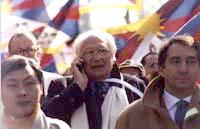 Pannella durante la marcia della 1° manifestazione europea per la libertà del Tibet.