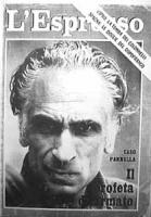 """Copertina de """"L'Espresso"""" dedicata a Pannella. Sua foto in primissimo piano, """"Caso Pannella, il profeta disarmato"""""""
