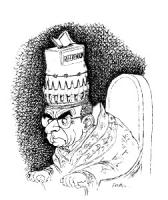 """VIGNETTA. Un accigliato Papa Paolo VI tiene sulla testa un copricapo a forma di urna con su scritto: """"referendum"""""""
