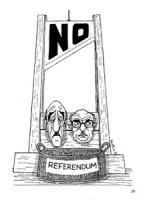 """VIGNETTA. Una ghigliottina pende sulle teste di Almirante e Fanfani. Sulla lama c'è scritto: """"no"""" e nella cesta: """"referendum"""""""