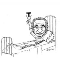 """VIGNETTA: """"Pannella ottiene, con il digiuno, l'accesso alla TV"""" Pannella magrissimo, su un letto d'ospedale, alza al cielo le dita a forma di V a cui"""