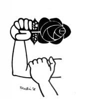 """VIGNETTA: """"I radicali raggiungono il quorum per il Parlamento"""" La rosa nel pugno appare stretta in un braccio alzato, mentre l'altra mano si posa sull"""
