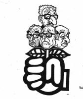 """VIGNETTA: """"i radicali non mollano la presa"""" Caso Lockeed. Un pugno radicale tiene stretti, al posto della rosa, Leone, Rumor, Gui e Tanassi."""
