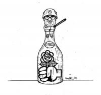 """VIGNETTA: """"la polizia reprime la manifestazione radicale per la vittoria del '74"""" Fanfani vestito da celerino fa da tappo per una bottiglia che contie"""