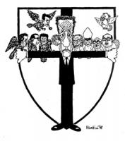 """VIGNETTA: """" falchi e colombe"""" [si riferisce alle posizioni dei politici durante il rapimento di Aldo Moro] Zaccagnini tiene le braccia aperte ad abbra"""