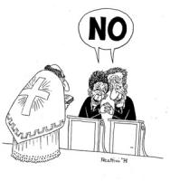 """VIGNETTA: """"DC e PCI sui referendum"""" Davanti ad un prete Berlinguer e Zaccagnini tenendosi teneramente per mano pronunciano all'unisono il loro: """"NO"""" a"""
