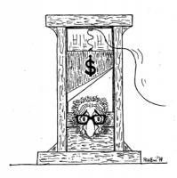 """VIGNETTA: """"Dollari e referendum"""" Il Presidente dela Repubblica Leone con la testa in una ghigliottina sulla cui lama c'è il simbolo dei dollari. [si r"""